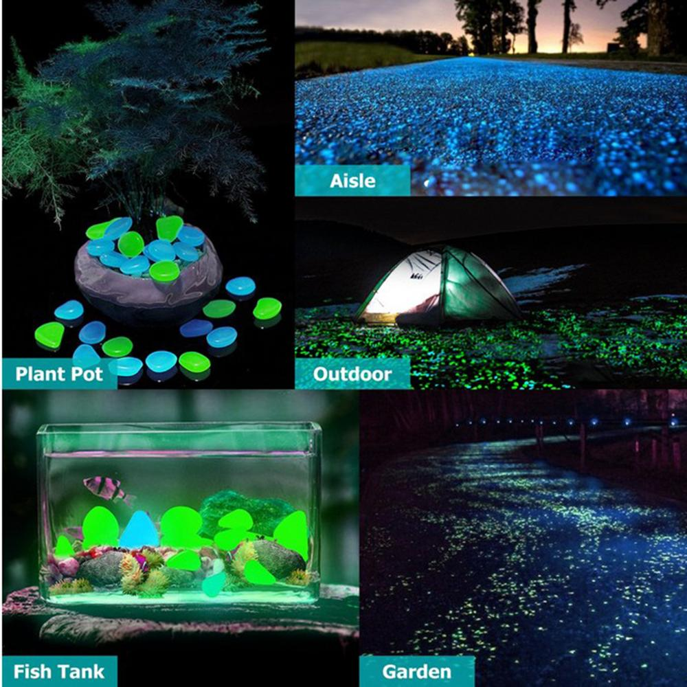 50x Glow In The Dark Pebbles Garden Decorative Pebbles Luminous Stone for Walkway Path Patio Lawn Plant Pot Aquarium Decorations(China)