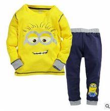 Boy's clothes European Style Cotton Long sleeve 2 Pieces suit Top+pants Minions clothes set for kids boys