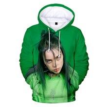 цена на The latest 2019 casual Harajuku billie eilish pop singer 3D hooded sweatshirt men's women's wear men's 3D hooded sweatshirt