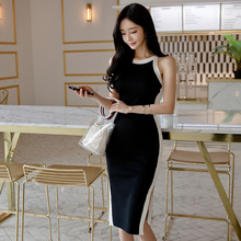 Women Basic Wear Sheath Midi Dress Contrast Bodycon Ladies Dresses Robe Longue Halter Off Shoulder Korean Knitted