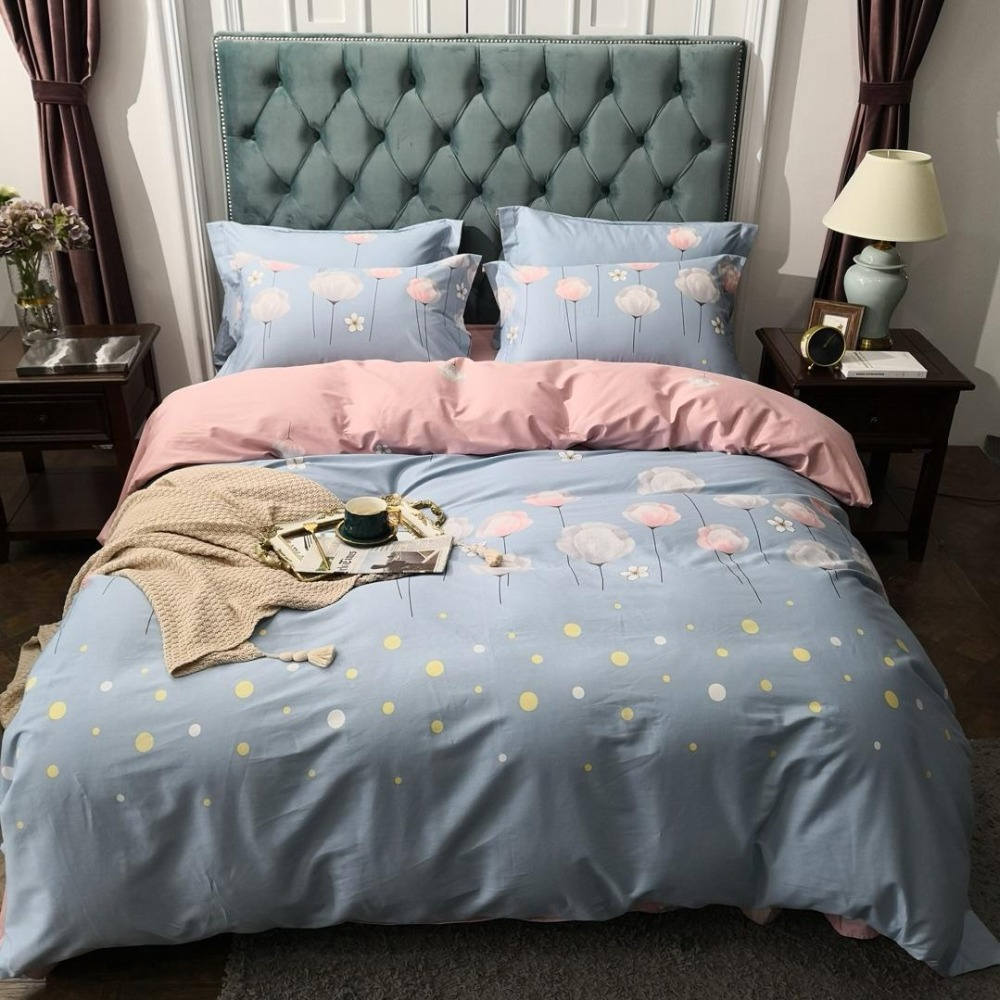 Bedding Set 2019 New Style Bed Set Luxury Cotton Bed Sheet Queen King Size Duvet Cover Set Pink And Blue Bed Linen 3 Styles