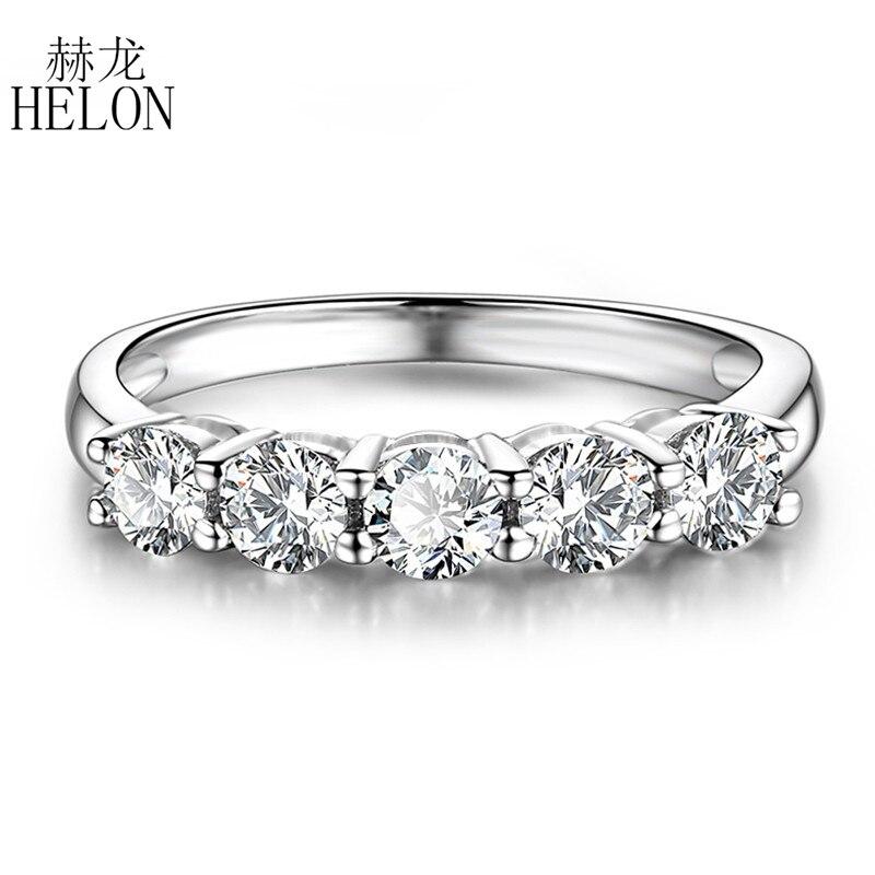Настоящее 14 К белого золота муассанит кольцо 0.5CT F Цвет Обручение кольцо Тесты положительный Муассанит Diamond Band Свадебные украшения для леди