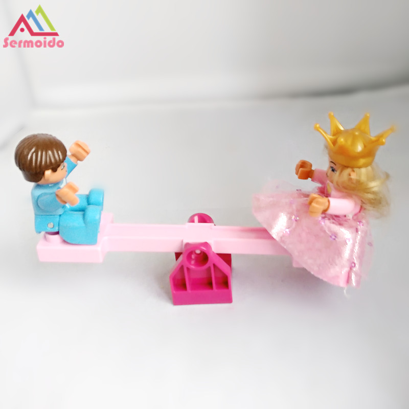 sermoido Toys Princess Prince Seesaw Building Blocks DIY Bricks Set Compatible With Duplo Educational Toys For Children 120pcs farm building blocks diy toys early learning self locking bricks baby educational toys compatible with duplo play house