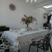 Rustic fashion embroidery fabric dining table cloth tablecloth cutout cover towel beautiful pink rose