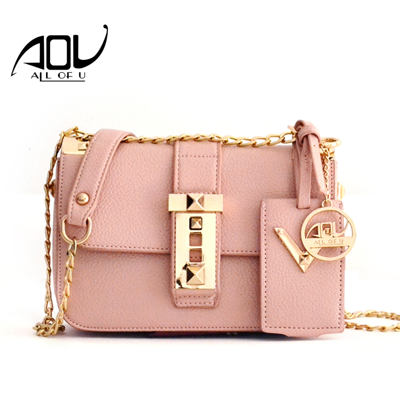 9e83d39238d AOU Fashion Women s bags Lady Pink Crossbody Bags 2018 Summer Designer  Leather Shoulder bag Retro PU Leather Flap bag sac a main