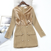 Autumn Winter Fashion New Dress Women Long Sleeved Double Breasted Velour Stitching Wool Blend Package Hip