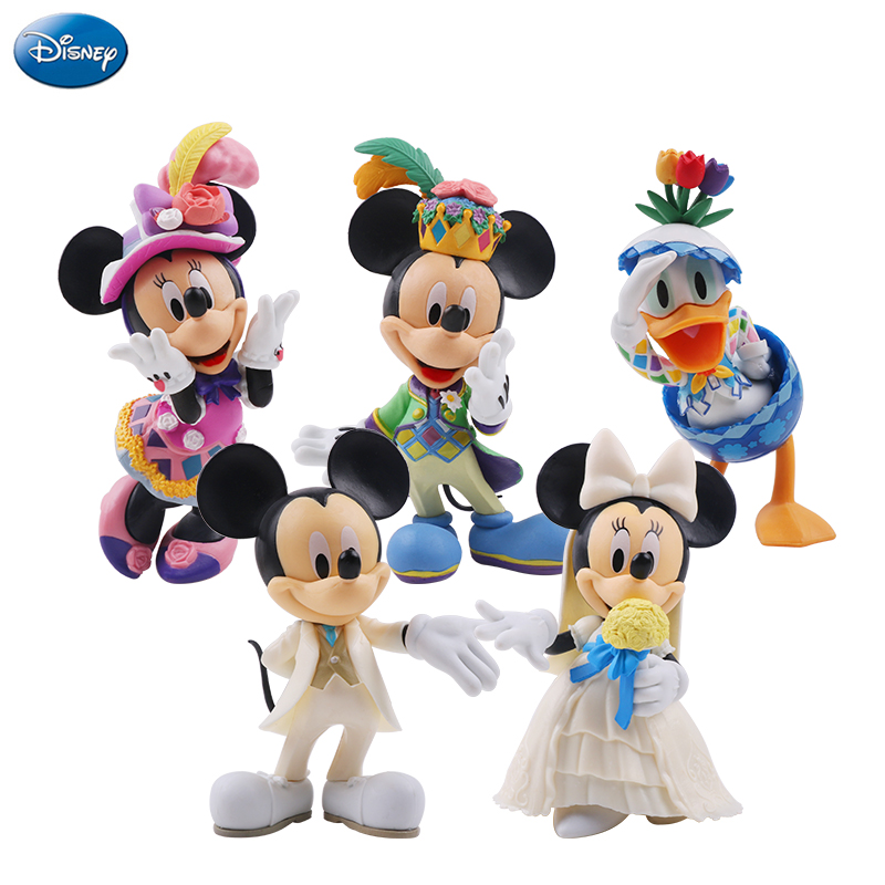 цена на 10-13cm Disney Action Figure Mickey Mouse Minnie Princess Donald Duck Kawaii Doll Birthday Present Children Toy Collection Boy