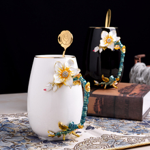 Europe Creative Novelty Enamel Coffee Cup Mug Flower Tea ceramics Cups for Hot and Cold Drinks Milk Alloy Handgrip Mugs