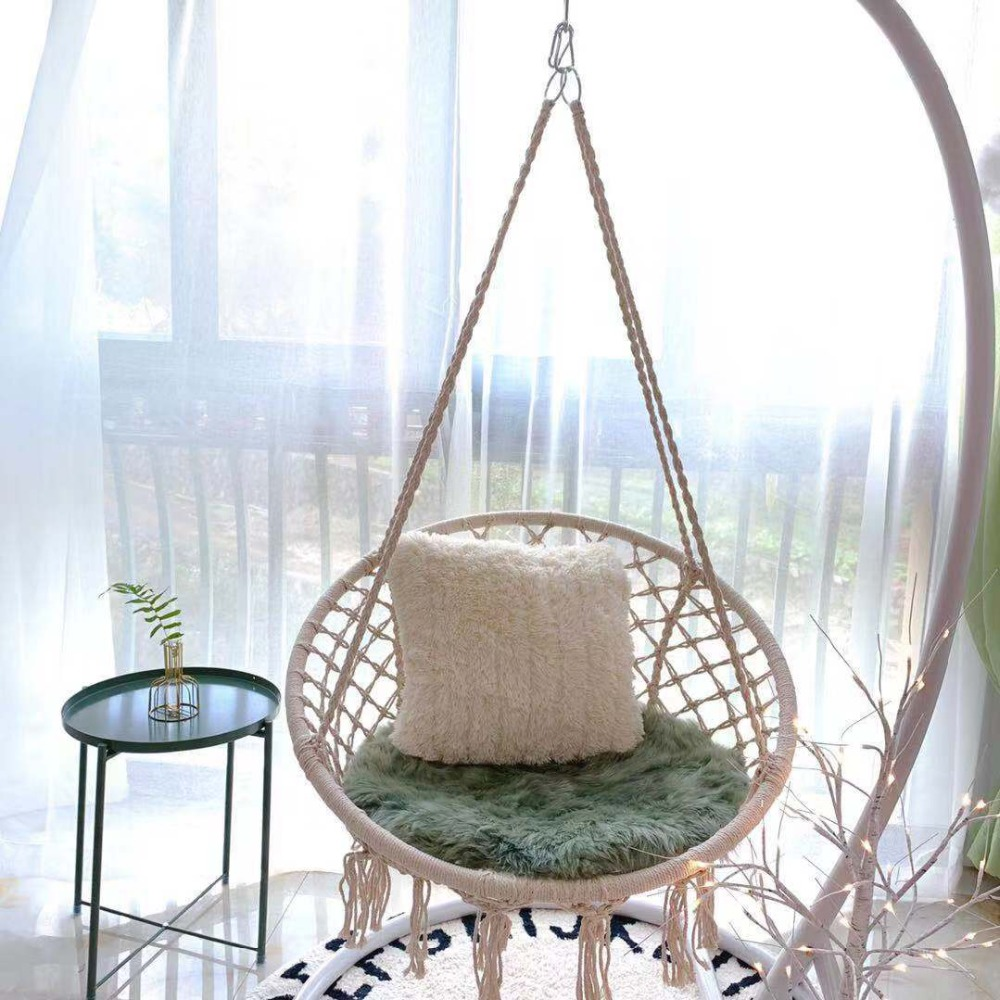 Nordic Style Round Hammock Outdoor Indoor Dormitory Bedroom Hanging Chair For Child Adult Swinging Single Safety