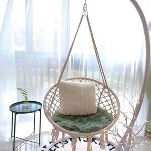 Image 1 - สไตล์นอร์ดิกรอบเปลญวนกลางแจ้งในร่มห้องนอนห้องนอนแขวนเก้าอี้สำหรับเด็กผู้ใหญ่แกว่งเดี่ยวความปลอดภัย Hammock สีขาว