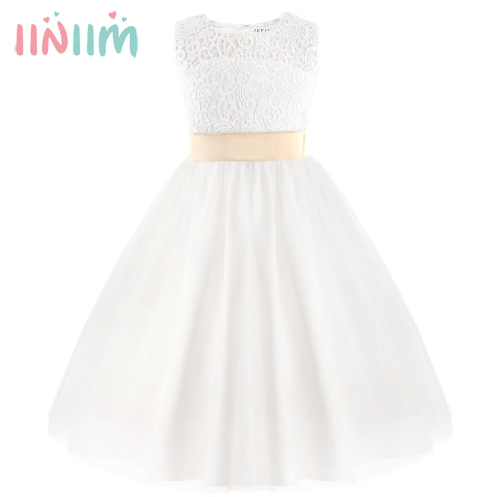 White First Communion Formal Dresses for Girls 2017 Summer Tulle Lace Heart Shape Tutu Toddler Pageant Kid Weddings Party Dress 2017 fashion summer hot sales kid girls princess dress toddler baby party tutu lace bow flower dresses fashion vestido