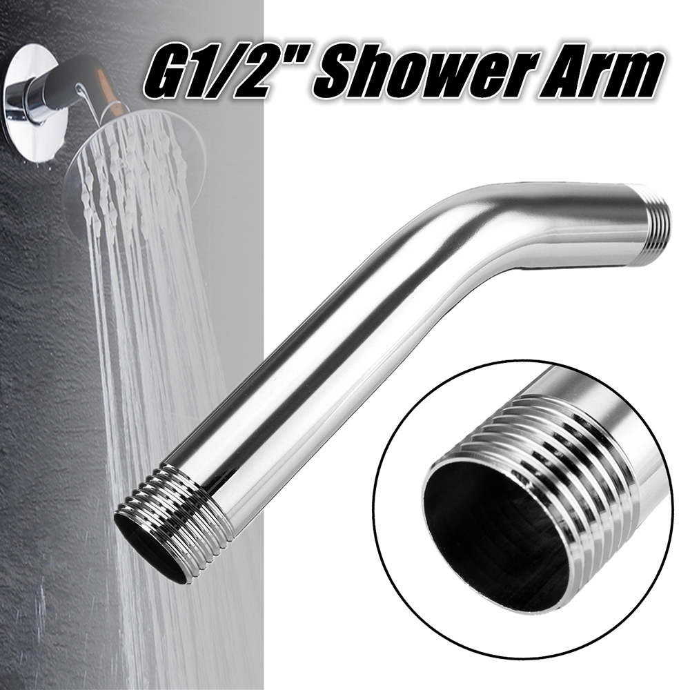 G1/2  Stainless Steel Shower Tip Extension Angled Arm Pipe 150mm
