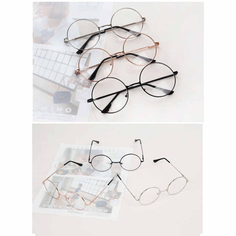 a82010adf2 ... 2018 New Man Woman Retro Large Round Glasses Transparent Metal Eyeglass  Frame Black Silver Gold Spectacles ...
