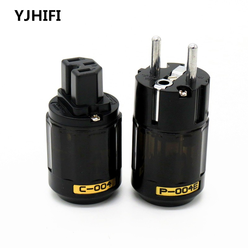 Brand new P004E +C004 Rhodium plated EUR schuko AC EU power plug C004 IEC power connector US power plugs 1pair все цены