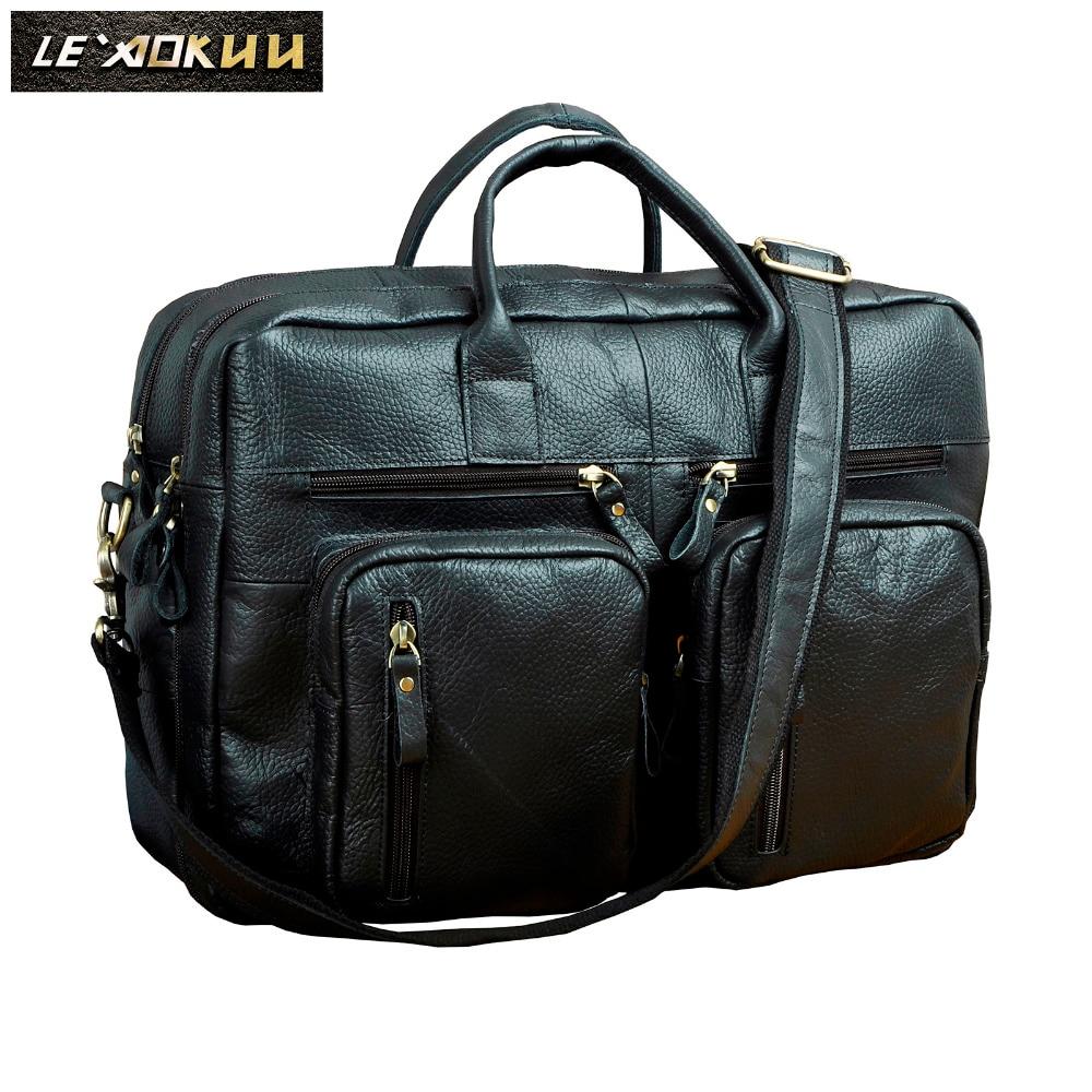 Original Leather Man Bag Design Large Organizer Travel Business Briefcase 15