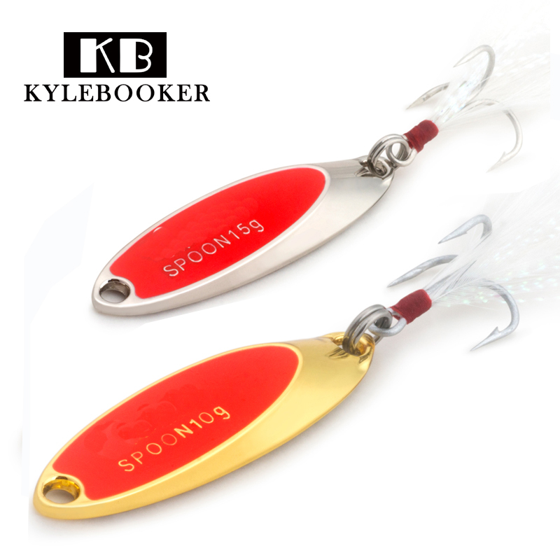 Kylebooker Worm Spoons Bait Tiny One Hook Fishing Metal Lure Gold Silver 1.5g