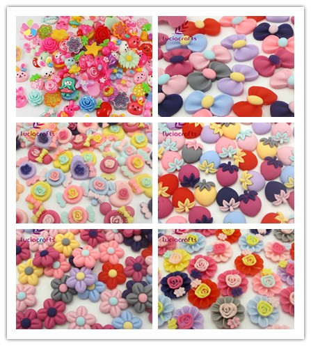 Lucia crafts Multi options Random Mix Colors shape Mobile Phone Beauty Resin Radnom Series Diy Crafts 24pcs/12pcs 080002084