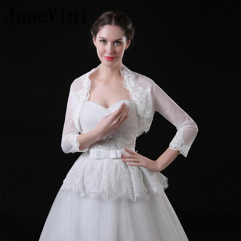 JaneVini White Women Jacket With 3/4 Sleeves Brautjacke Lace Appliques Summer Bolero Bridal Tulle Wedding Coat Shawl Wraps Stole