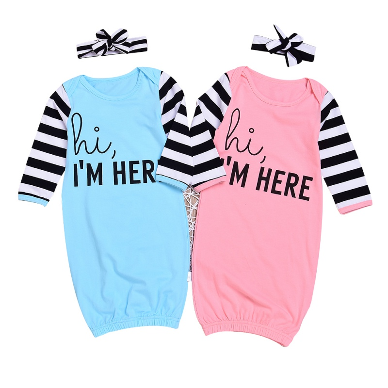 Pink Blue Infant Baby Boys Girls Rompers Cotton Sleepy Bags + Headband Infant 2018 Newbo ...