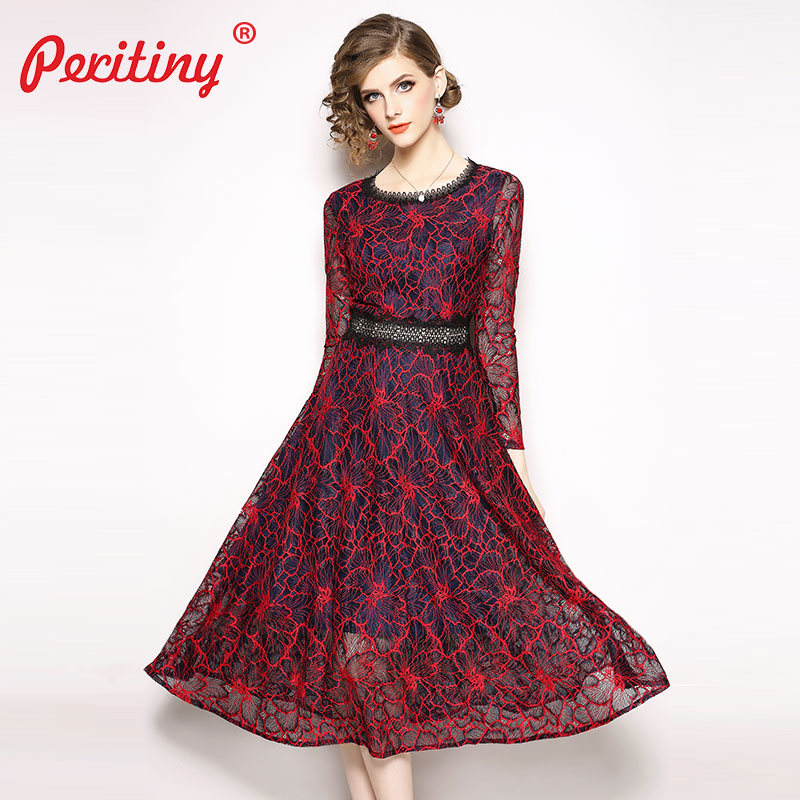 Peritiny Long Sleeve Dress Red Blue Lace Hollow Out Patchwork Elegant Ladies Dresses Autumn Winter Christmas Party Dress Vintage