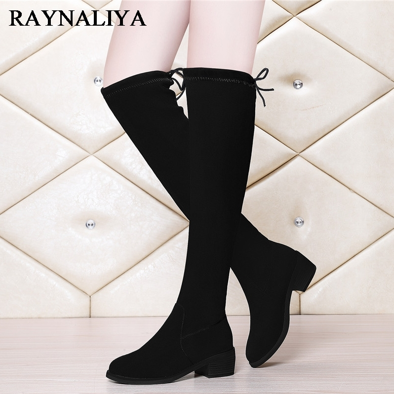 New Female Over The Knee Boots For Women Comfortable Soft Casual Med Heel Long Boot Winter Warm Shoes YG-A0050