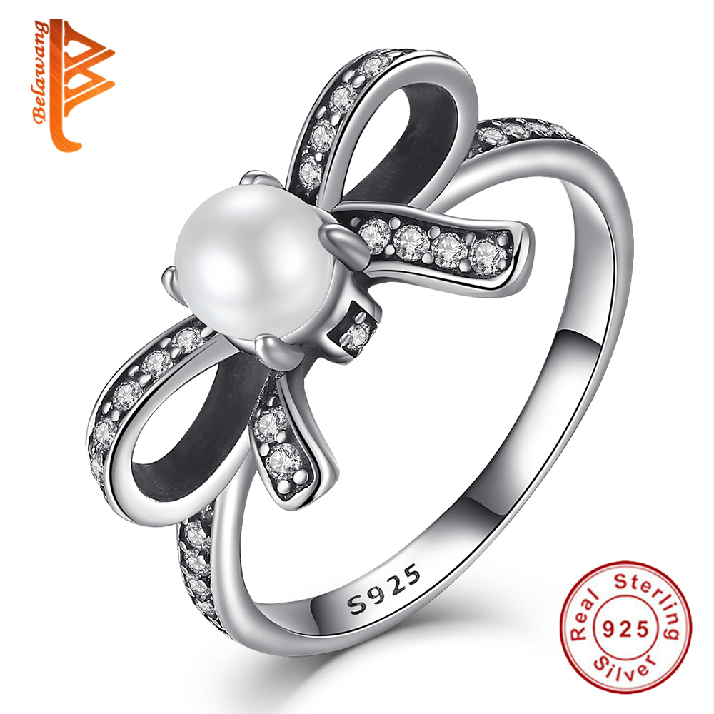 Authentic Real 925 Sterling Silver Delicate Sentiments Finger Ring With  White Simulated Pearl& Clear Cz