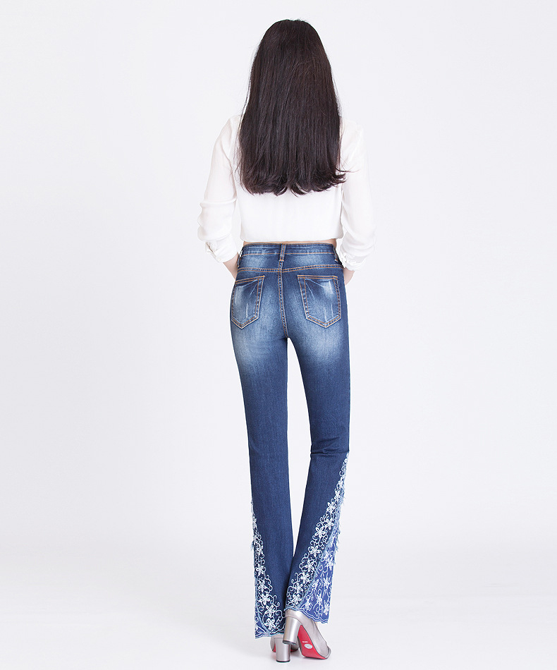 KSTUN FERZIGE New Jeans Woman Embroidered Trousers Lace Bell Bottoms Design Light Blue Stretch High Waisted Jeans Sexy Ladies Mujer 36 15
