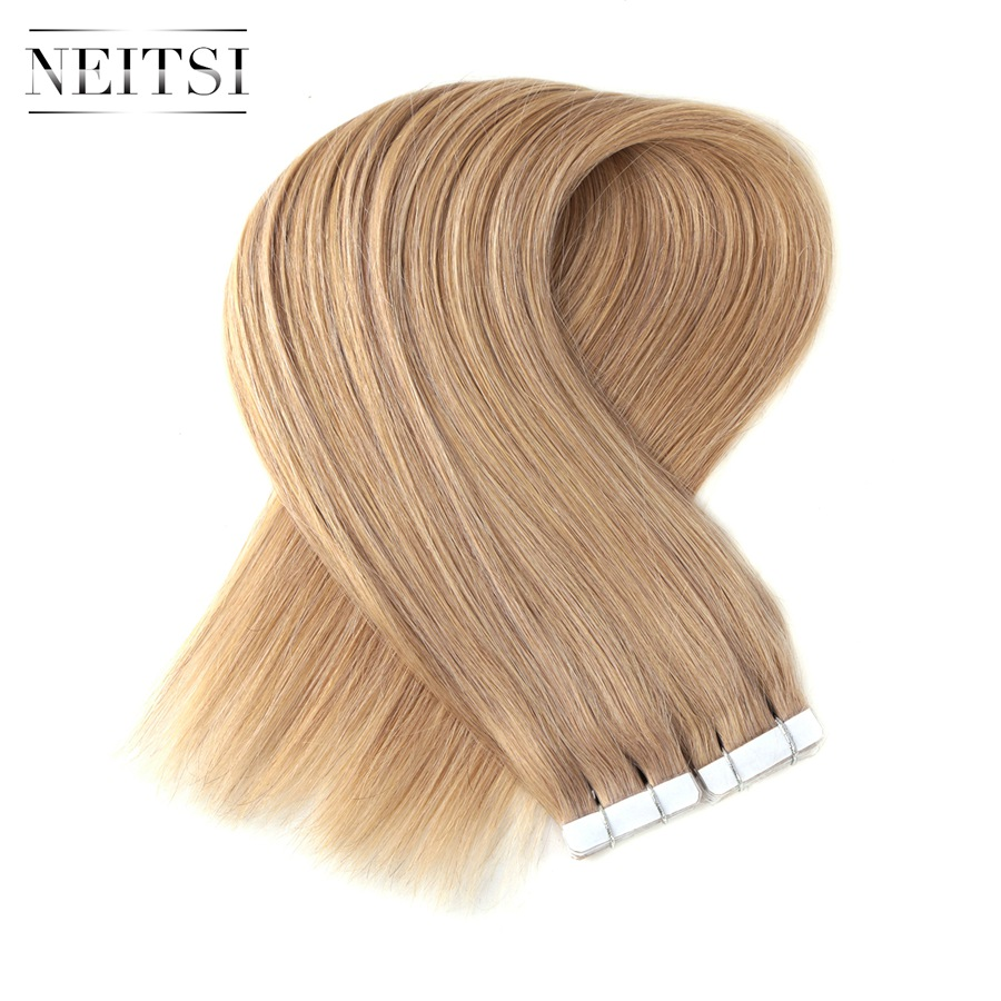 "Neitsi Straight Brazilian Skin Weft Hair 100% Human Hair None Remy Tape In Hair Extensions 16"" 18"" 20"" 22"" 20pcs/pack 14 Colors"