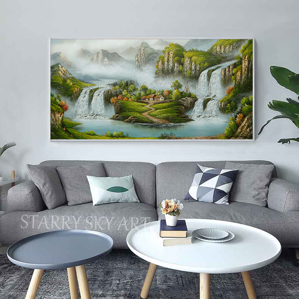 Excellent Artist Hand painted Traditional Chinese Feng Shui Oil Painting on Canvas Chinese Treasure Bowl Landscape Oil Painting - 3