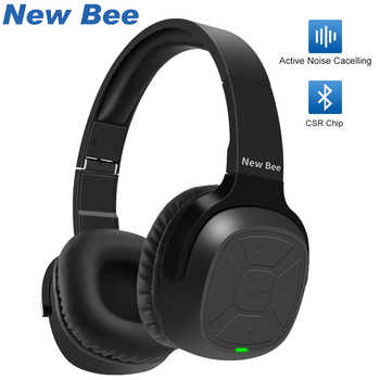 New Bee Active Noise Cancelling ANC HD Stereo Foldable Headset Wireless Bluetooth Headphone with Mic For iPhone xiaomi PC TV - DISCOUNT ITEM  50% OFF All Category