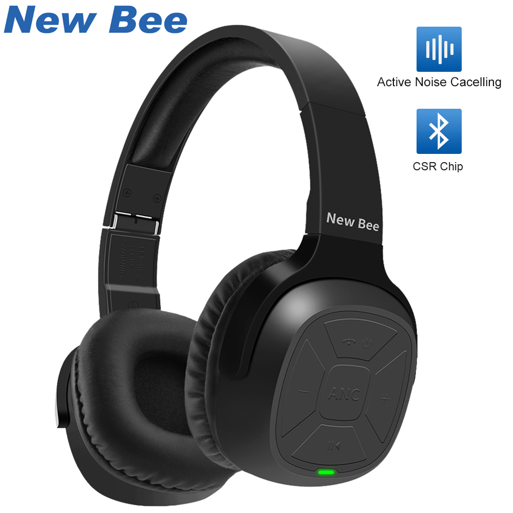 New Bee Active Noise Cancelling ANC Stereo Foldable Headset Wireless Bluetooth Headphone with Mic For iPhone xiaomi PC TV