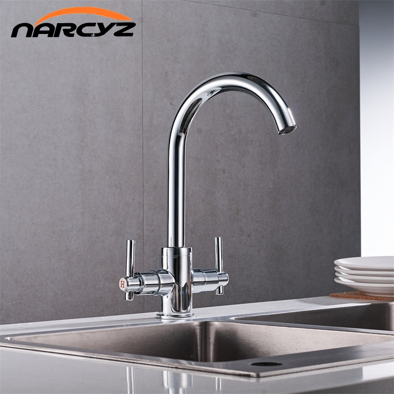 Free Shipping Chrome color Kitchen Faucets Double Hands Round Bathroom Sinks Wall in Taps Double Hole