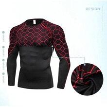 Мужская быстросохнущая облегающая дышащая спортивная рубашка с принтом с длинным рукавом и круглым вырезом C55K распродажа