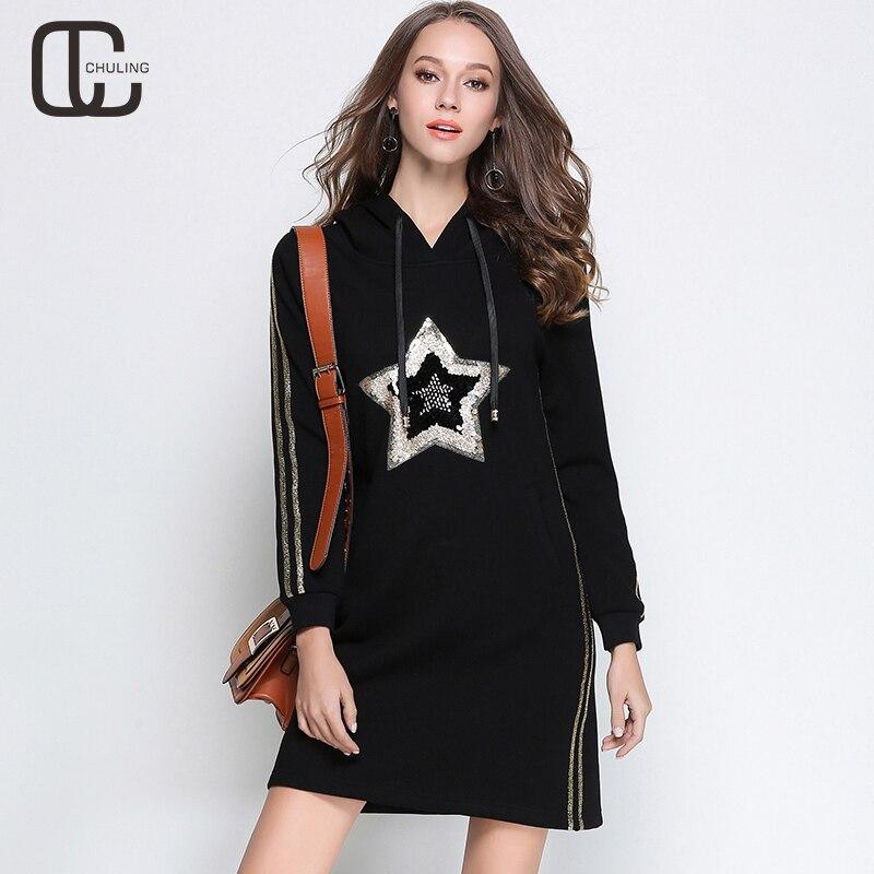 d4734a63ab68 Winter Women' Sequins Casual Hooded Velvet Dresses