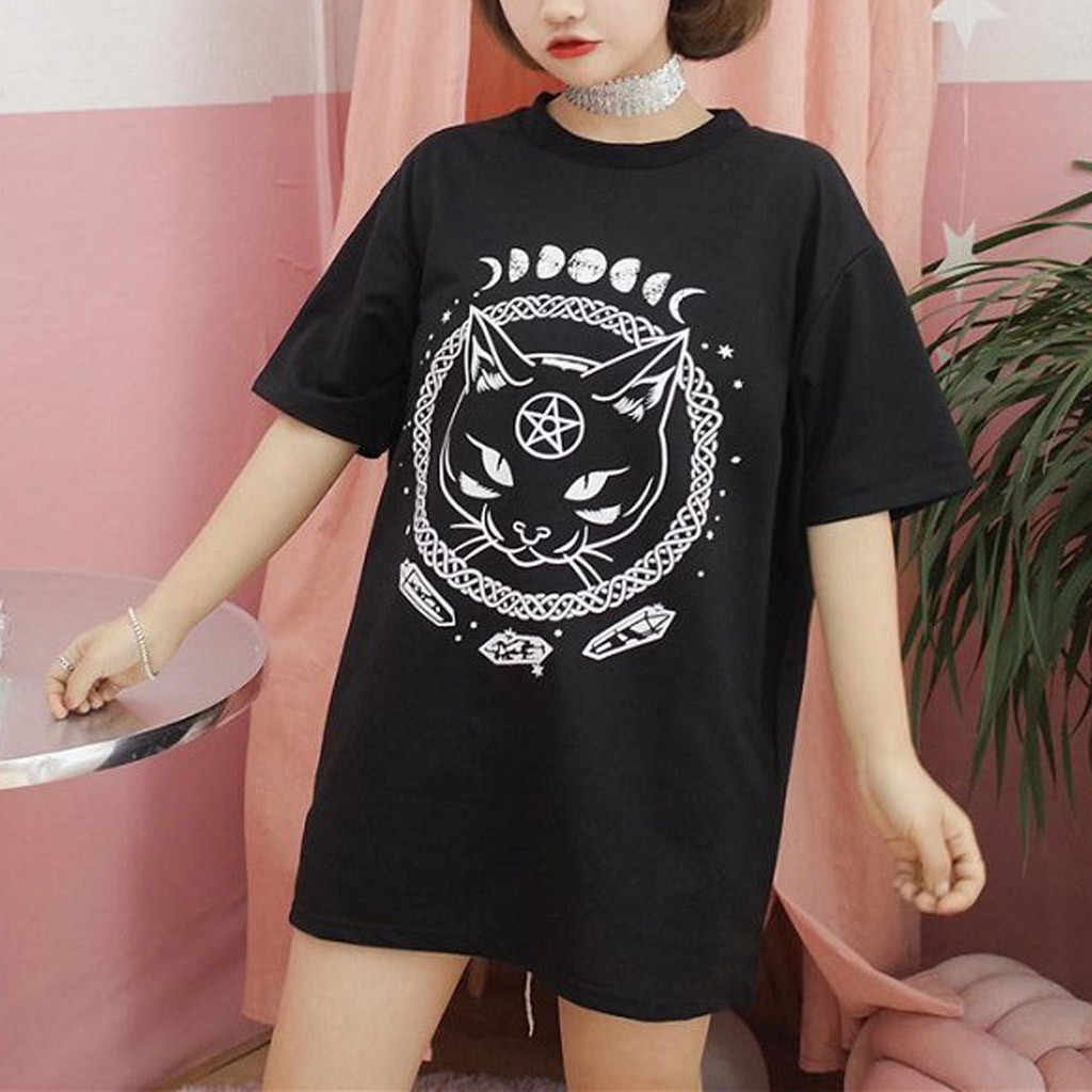 356b8696 ... Korean Style Clothes Aesthetic Women Girl Funny Short Sleeve Moon Cat  Print Punk Gothic Top T ...