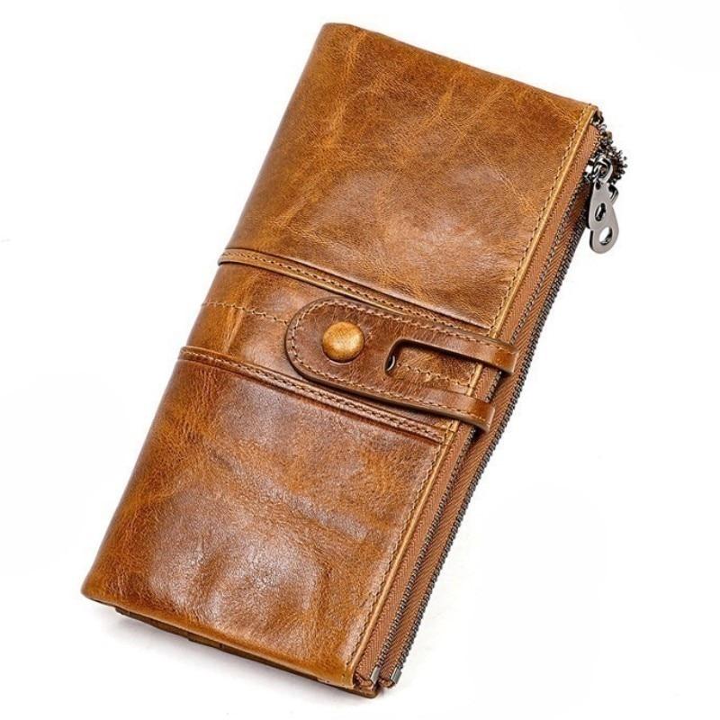 Design Unisex Men Clutch Wallets Genuine Leather Male Women's Long Wallet Zipper Purse Coin Purse Money Phone Bag RFID