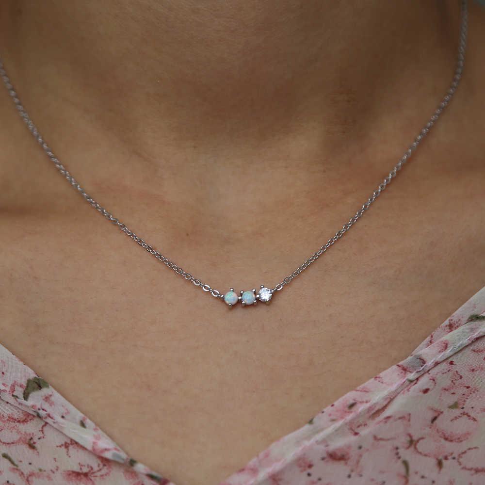 18 Simple Three Stone Design Bar Minimal Charm Chain Necklace 925