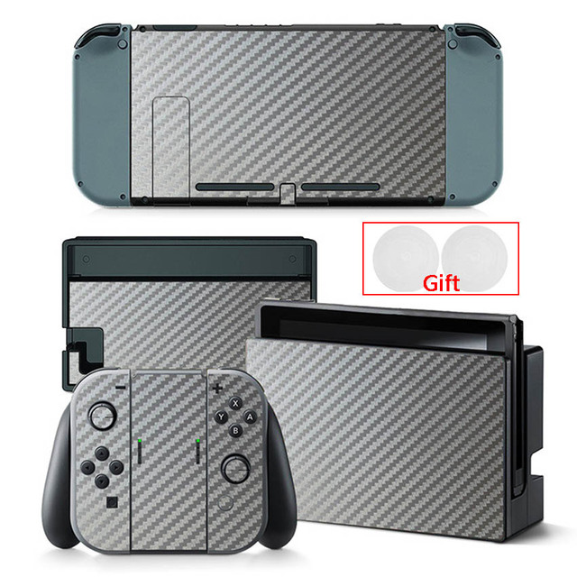 Carbon Fiber Sticker For Nintendo Switch Protection Skin Console Protector Stickers + 2pcs Silicone Protection Caps 5