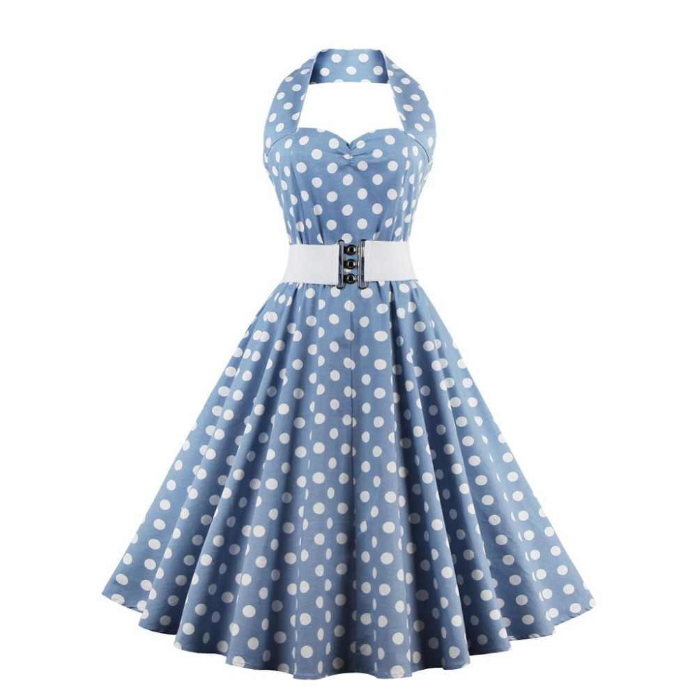 95c30084b29 Kenancy плюс размеры платье ретро Винтаж Одри Хепберн Холтер в горошек 50 s  60 рокабилли Поясом