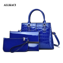3Pcs Luxury Patent Leather Handbags Women Bags Designer Brand Famous Tote+Female Shoulder Crossbody Bags+Clutch Purse Bag Sets48 цены