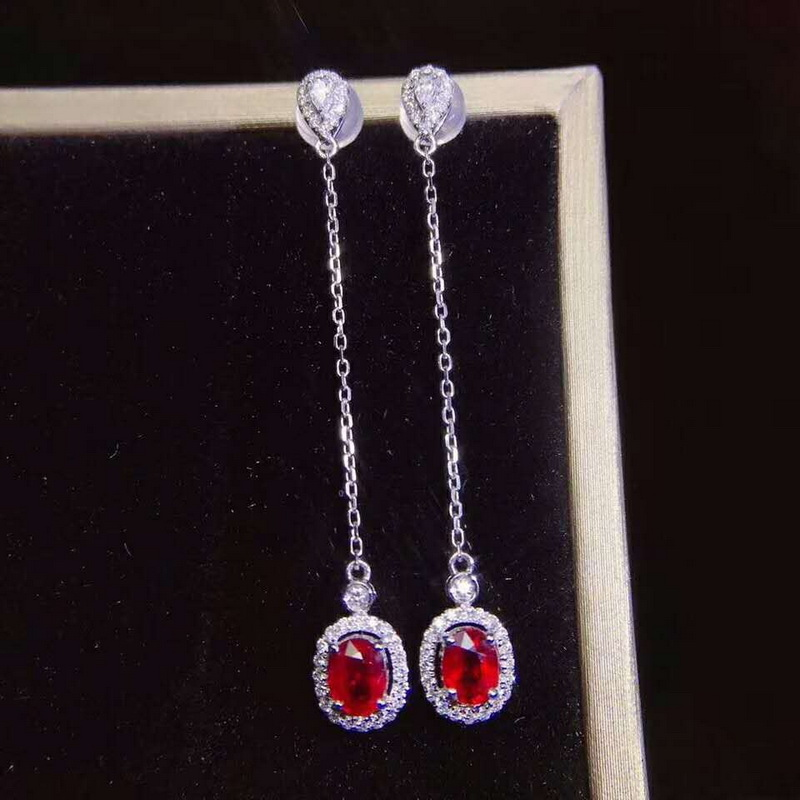 Fidelity natural 3*5mm ruby drop earrings s925 sterling silver classic simple fine jewelry for women Natural red gemstone