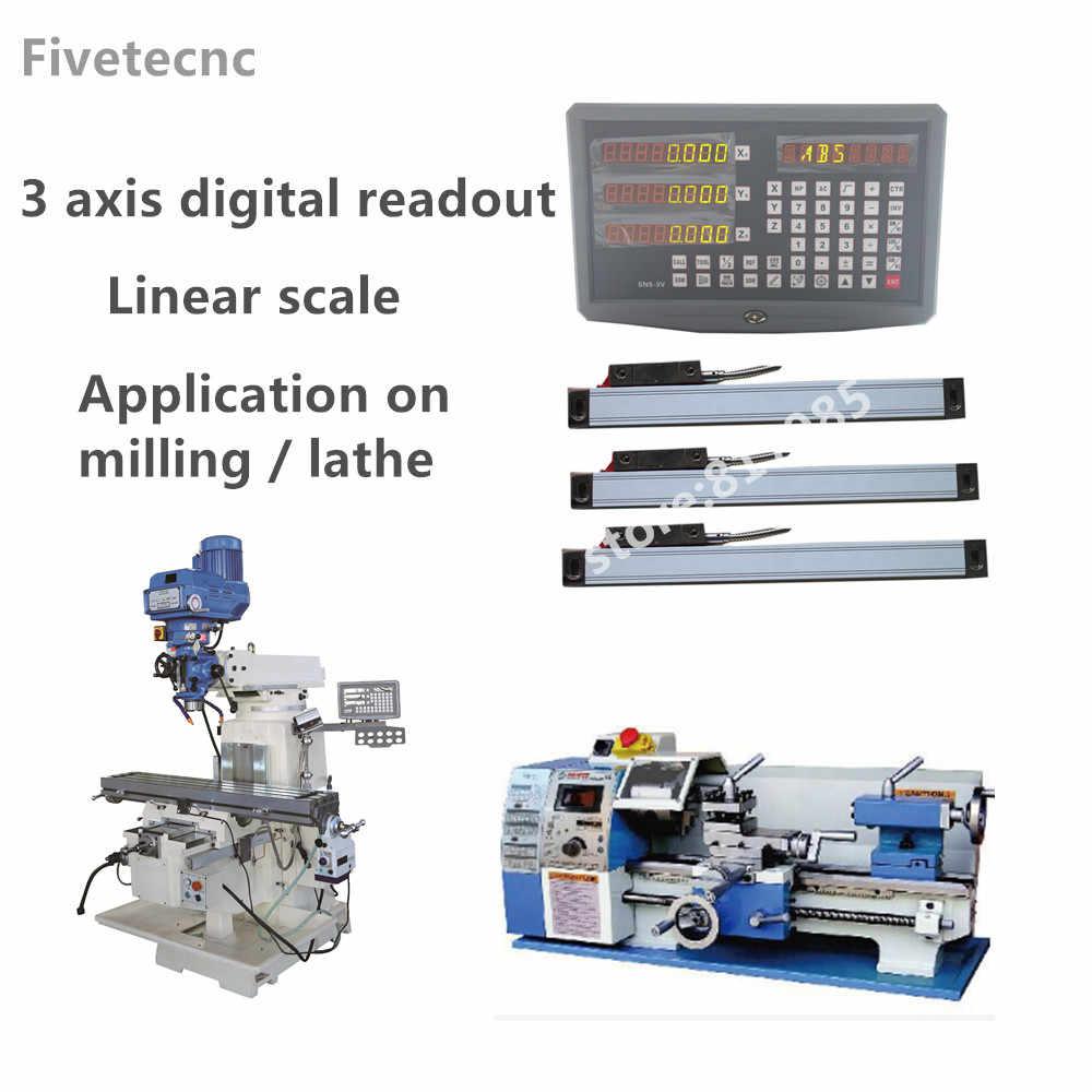 DRO Leitura Digital eixo 3 display com 50 3pcs linear escala de viagem-1020 milímetros para a moagem torno máquina dro display unidade completa