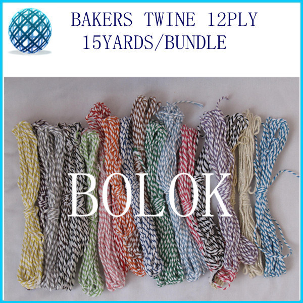 42 color 200pcs/lot baker twine 12ply 15yards/bundle divine cotton twine used in wrapping tag, gift cards free shipping