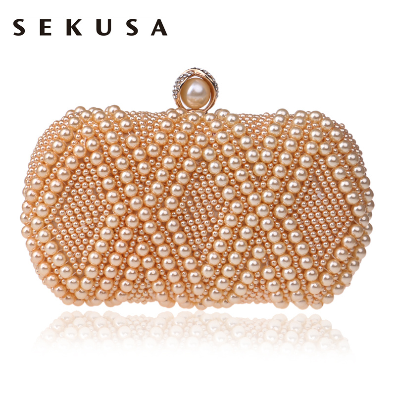 SEKUSA Handmade Style Beaded Wedding Party Clutches Chain Shoulder Small Evening Bags Pearl Imitaion Diamonds Purse Bag pearl beaded shoulder top