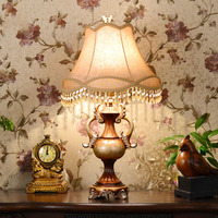 Simple Retro Classical American Country Resin Fabric Led E27 Table Lamp For Bedroom Living Room Study