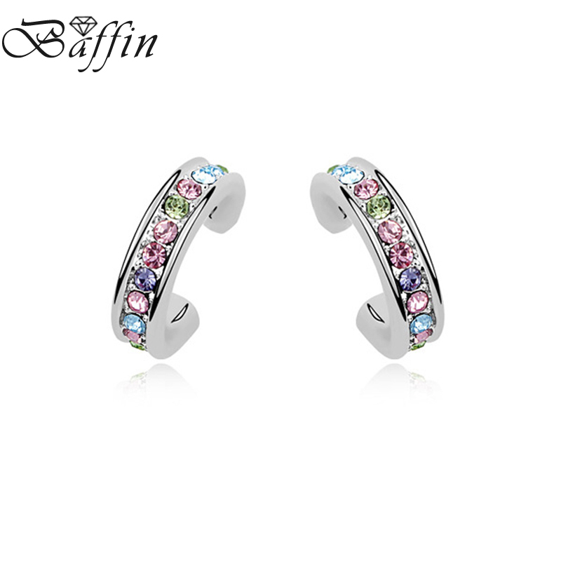 BAFFIN Fashion Brincos de festa Crystals From Swarovski Silver Color Stud Earrings For Women Daily Jewelry