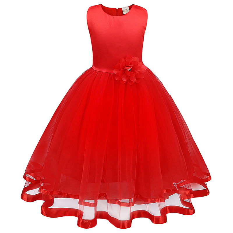 Teen Girl Clothes Christmas Tutu Flower Kids Dresses for Girls Wedding Baby Girls Kids Ceremonies Party Costumes Age 4-10 Years 4 15y little big girls clothes rustic flower girl wedding occasion junior bridesmaid kids cocktail dresses for 14 year girls