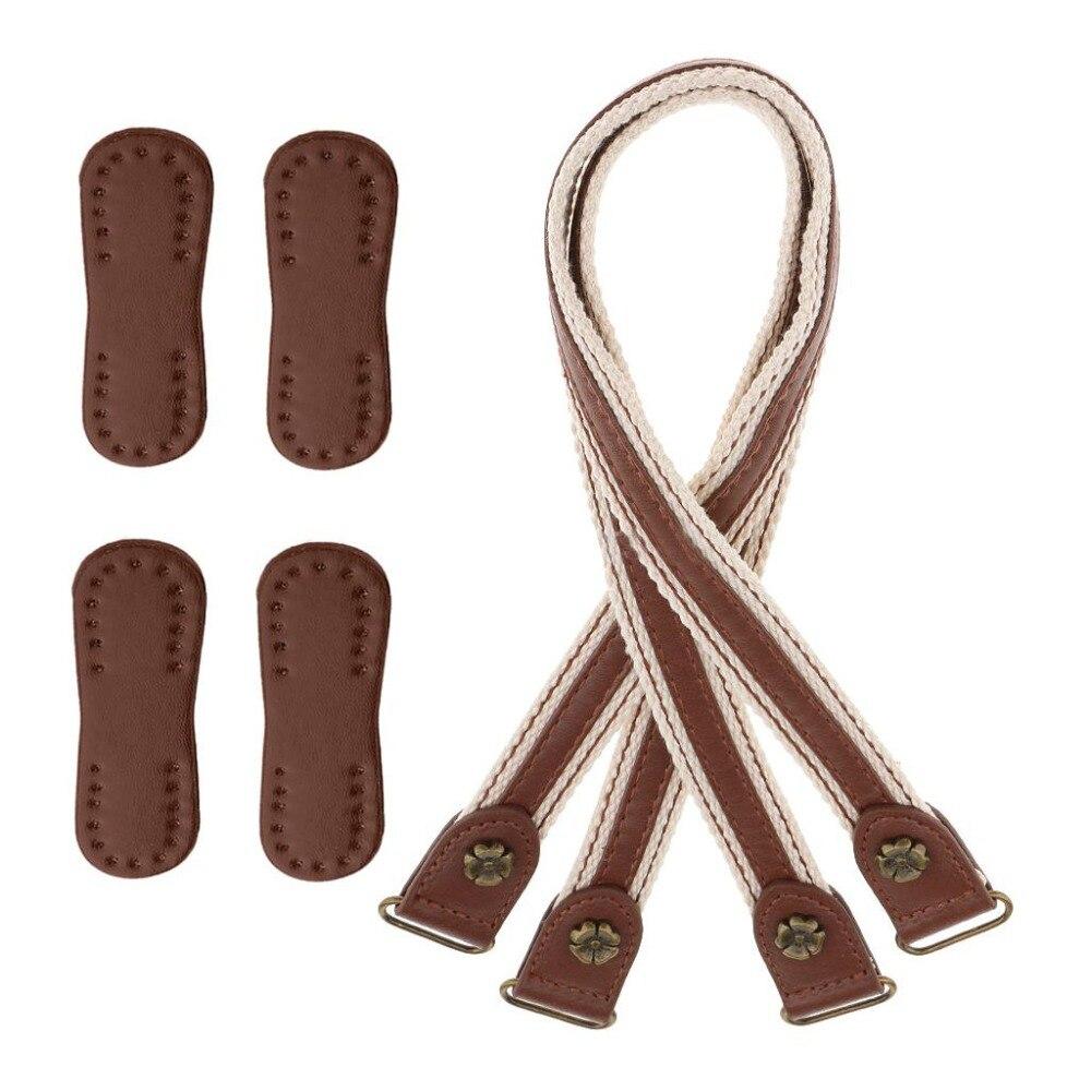 2pcs Handles with 4pcs Patches for DIY Leather Shoulder Bag Strap Handbag Belts Durable Brown Bag Accessories & Parts for Women
