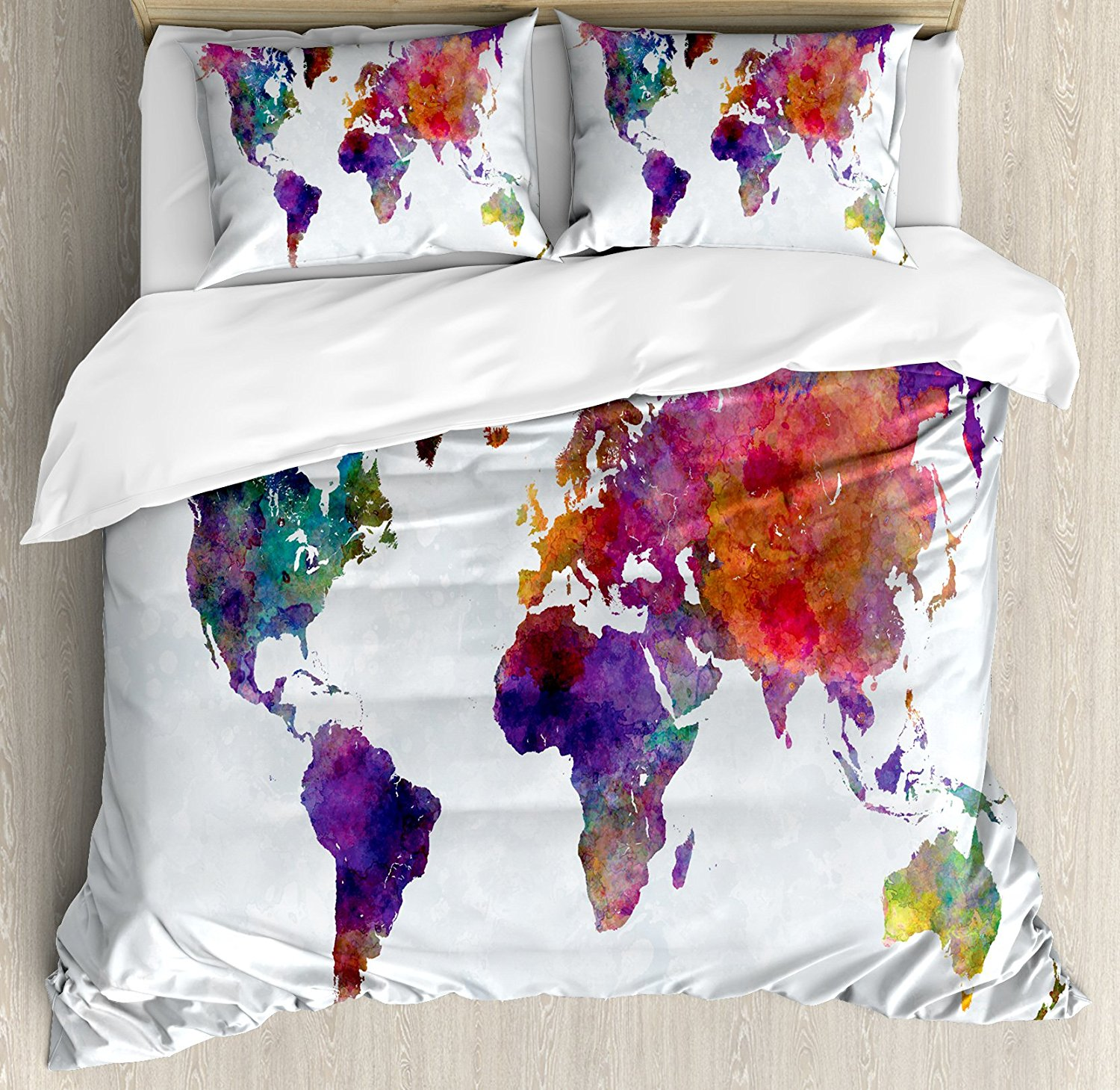 Watercolor duvet cover set multicolored hand drawn world map asia watercolor duvet cover set multicolored hand drawn world map asia europe africa america geography print multicolor in bedding sets from home garden on gumiabroncs Gallery