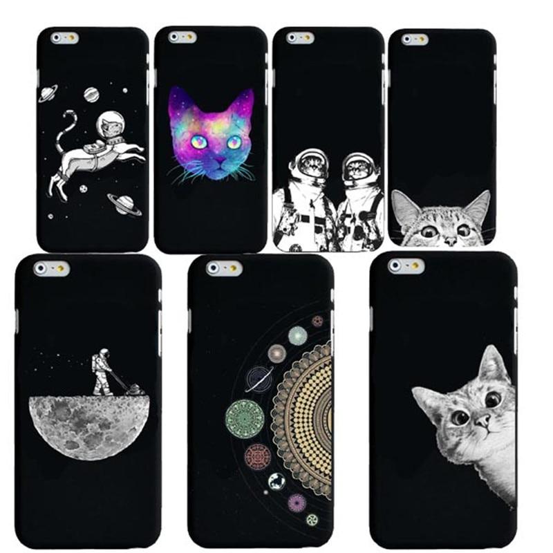 Case For iphone 8 8plus 7 7Plus 6S SE Cute Cat Space Moon Cat Man Pandas  Animal black Phone Cases Cover for iphone X Case